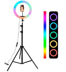 Кольцевая LED лампа (26см)+штатив(металл)2.1м с цветными режимами