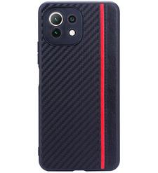 Чехол накладка G-Case Carbon для Xiaomi Mi 11 Lite, черный