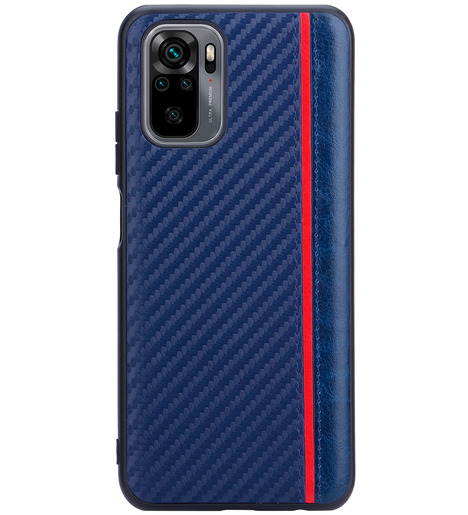 Чехол накладка G-Case Carbon для Xiaomi Redmi Note 10/Note 10S, синий