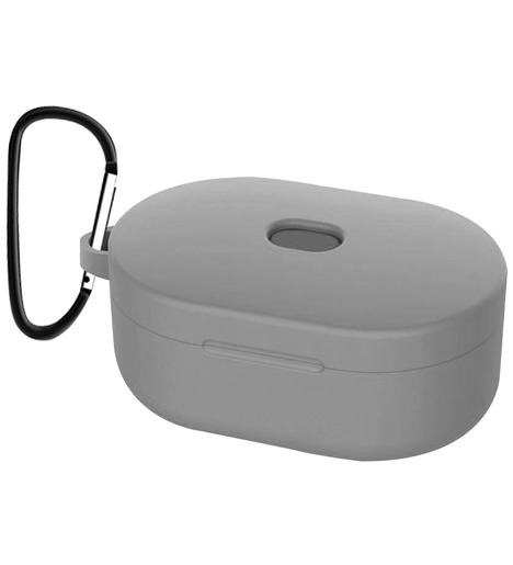 Чехол силиконовый для AirDots Slim + карабин (grey)