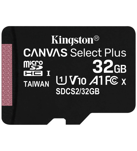 MicroSD 32GB  Kingston Class 10 U1 A1 Canvas select plus (100Mb/s) + SD адаптер