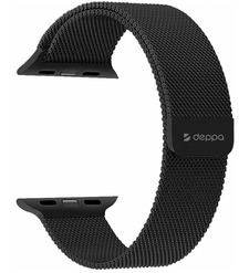 Ремешок Band Mesh для Apple Watch 38/40 mm, нержавеющая сталь, черный, Deppa