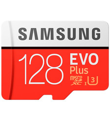 MicroSD 128GB Samsung Class 10 Evo Plus UHS-I U3 (90 Mb/s) + SD адаптер