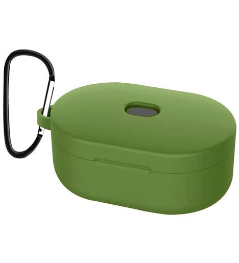 Чехол силиконовый для AirDots Slim + карабин (dark - green)